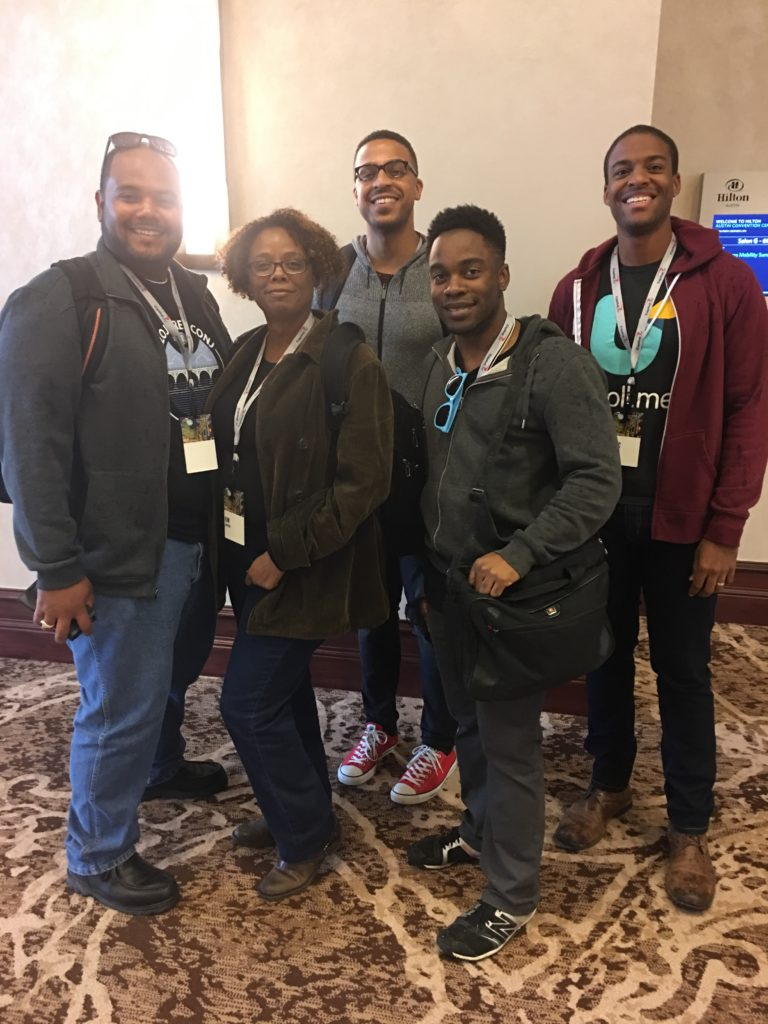 Photo credit goes to... some stranger from Clojure/conj! If you took this picture let us know! Picture features attendees of the Blacks in Tech lunch from Clojure/conj 2016.